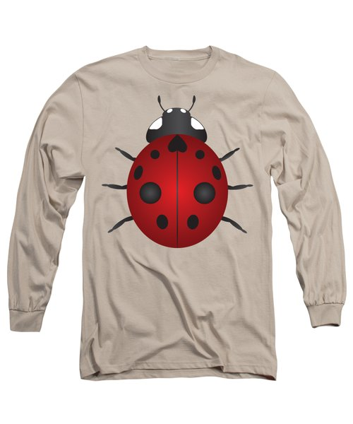 Red Ladybug Color Illustration Long Sleeve T-Shirt by Jit Lim