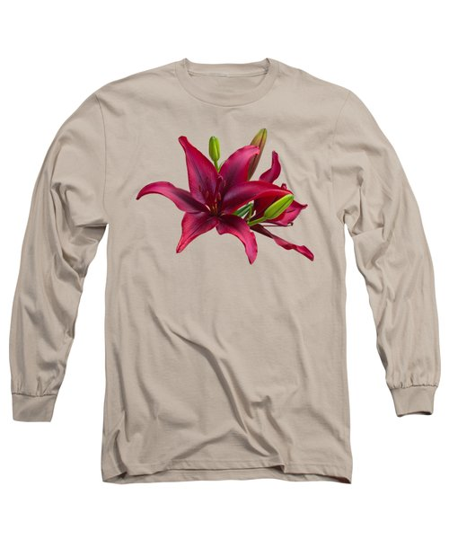 Red Lilies Long Sleeve T-Shirt by Jane McIlroy