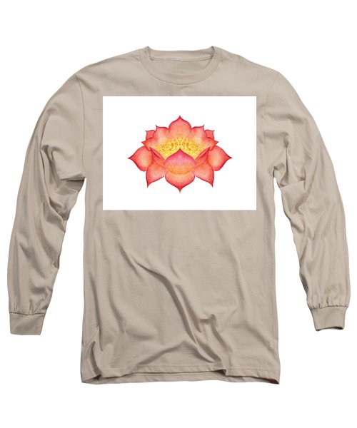 Long Sleeve T-Shirt featuring the painting Red Lotus by Elizabeth Lock