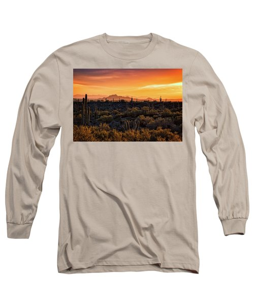 Long Sleeve T-Shirt featuring the photograph Red Mountain Sunset Part Two  by Saija Lehtonen