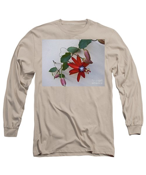 Red On White Long Sleeve T-Shirt