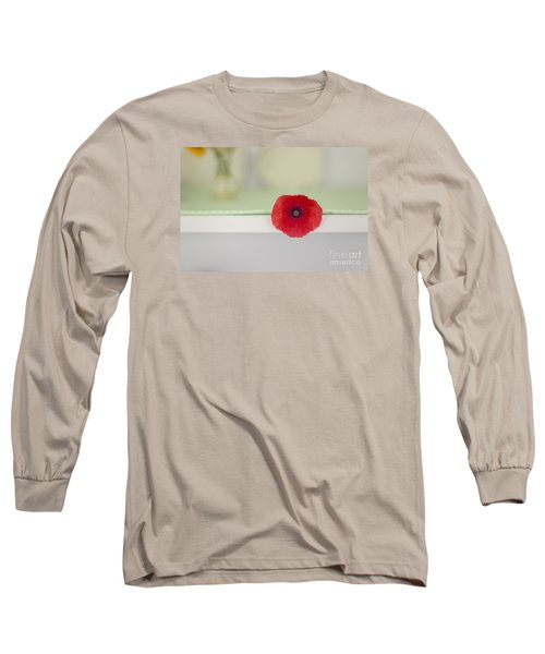 Red Poppy On Windowsill Long Sleeve T-Shirt