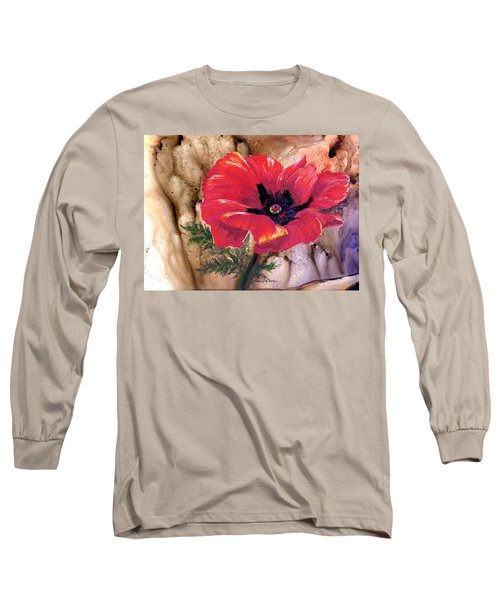 Long Sleeve T-Shirt featuring the painting Red Poppy by Sherry Shipley