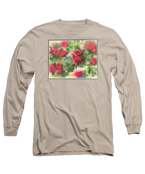 Long Sleeve T-Shirt featuring the painting Red Roses by Lucia Grilletto