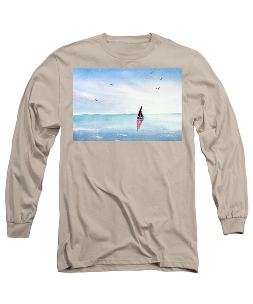 Red Sails On A Blue Sea Long Sleeve T-Shirt by Pattie Calfy