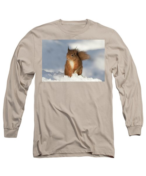 Long Sleeve T-Shirt featuring the photograph Red Squirrel In The Snow by Karen Van Der Zijden