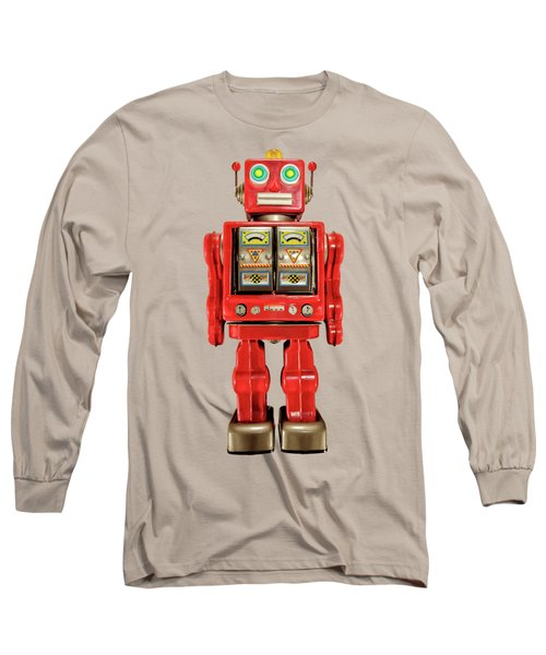 Red Tin Toy Robot Pattern Long Sleeve T-Shirt by YoPedro
