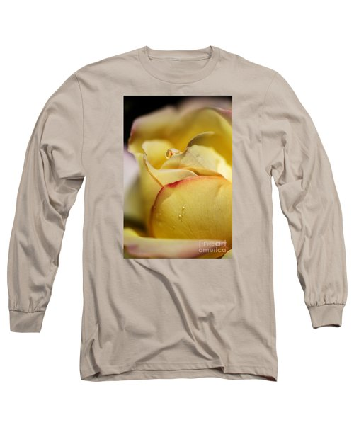 Red Tipped Yellow Rose Long Sleeve T-Shirt by Joy Watson