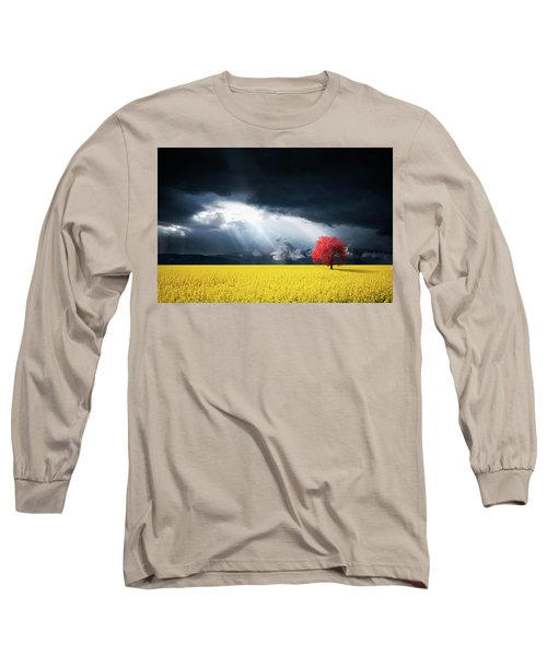 Red Tree On Canola Meadow Long Sleeve T-Shirt