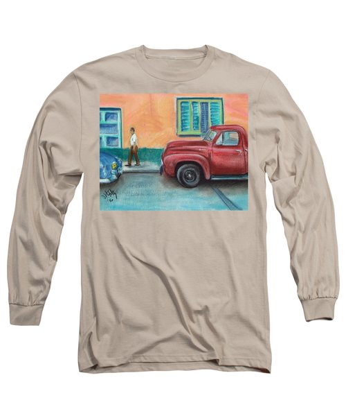 Red Truck Parked Long Sleeve T-Shirt