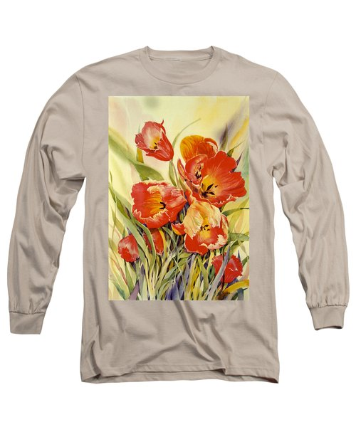 Red Tulips In My Garden Long Sleeve T-Shirt