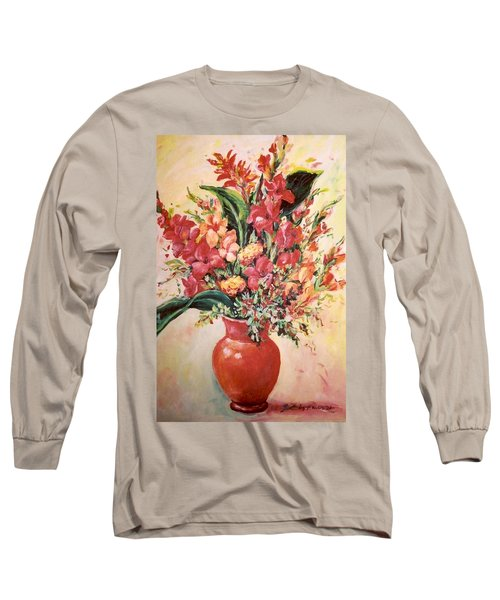 Red Vase Long Sleeve T-Shirt by Alexandra Maria Ethlyn Cheshire