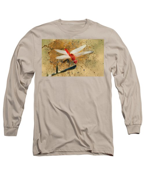 Long Sleeve T-Shirt featuring the photograph Red Veined Darter Dragonfly by Bellesouth Studio