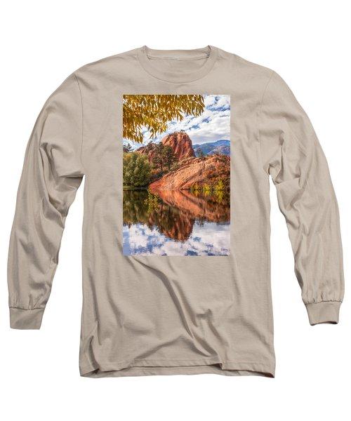 Reflecting At Red Rocks Open Space Long Sleeve T-Shirt by Christina Lihani