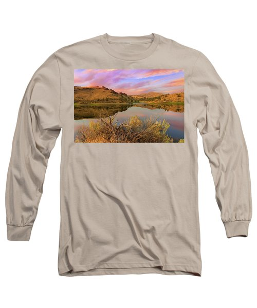 Reflection Of Scenic High Desert Landscape In Central Oregon Long Sleeve T-Shirt