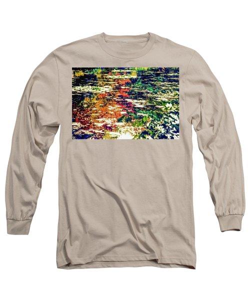 Reflection On Oscar - Claude Monet's  Garden Pond  Long Sleeve T-Shirt