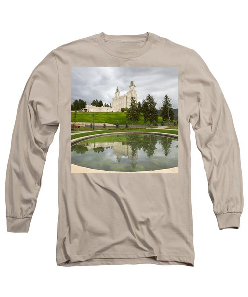 Reflections Of The Manti Temple At Pioneer Heritage Gardens Long Sleeve T-Shirt