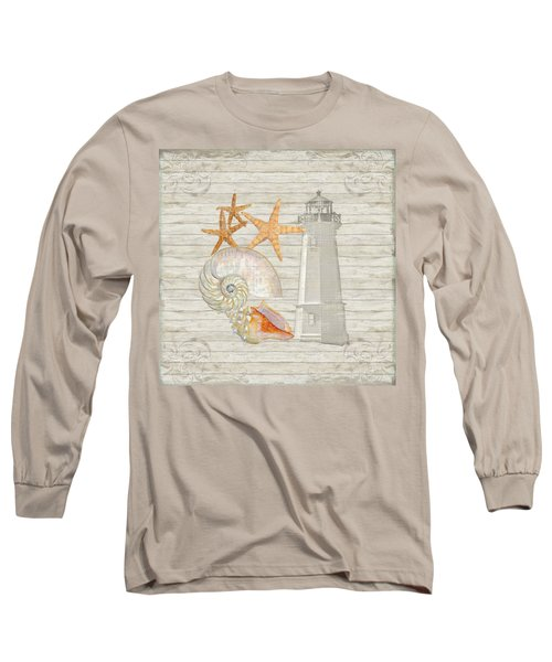 Refreshing Shores - Lighthouse Starfish Nautilus N Conch Over Driftwood Background Long Sleeve T-Shirt