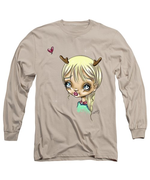 Long Sleeve T-Shirt featuring the painting Reindeer Kisses by Lizzy Love