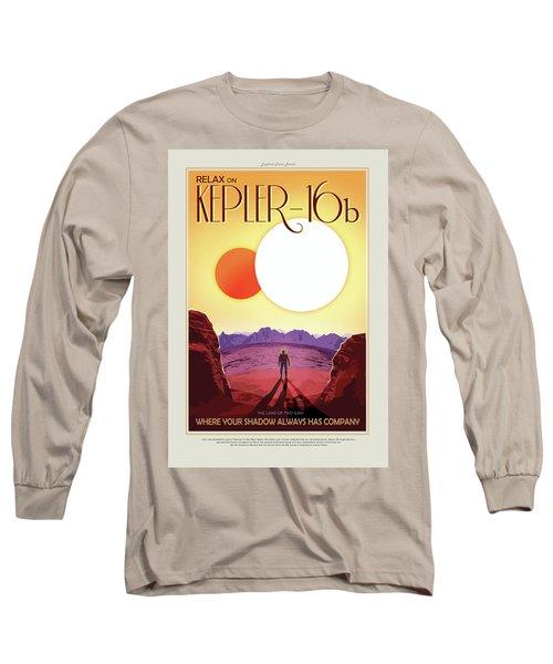 Relax On Kepler - 16b - Vintage Nasa Poster Long Sleeve T-Shirt