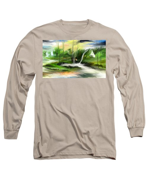 Long Sleeve T-Shirt featuring the painting Retreat by Rushan Ruzaick