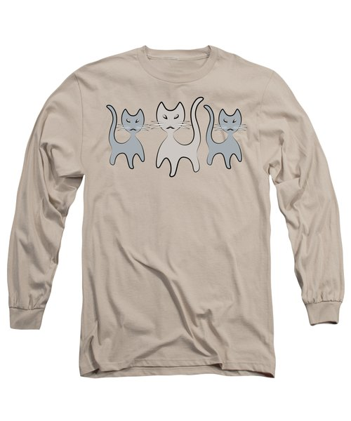 Retro Cat Graphic In Grays Long Sleeve T-Shirt