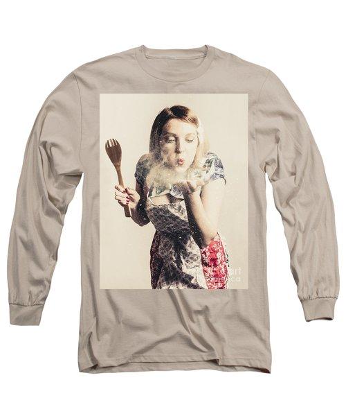 Retro Cooking Woman Giving Recipe Kiss Long Sleeve T-Shirt
