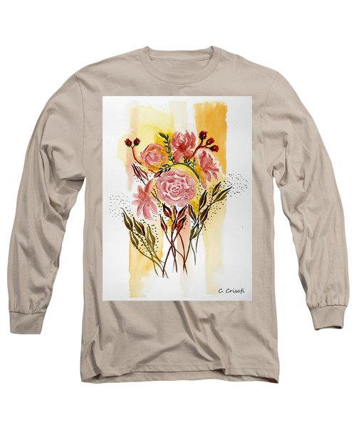 Retro Florals Long Sleeve T-Shirt by Carol Crisafi