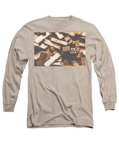 Retro News Print  Long Sleeve T-Shirt