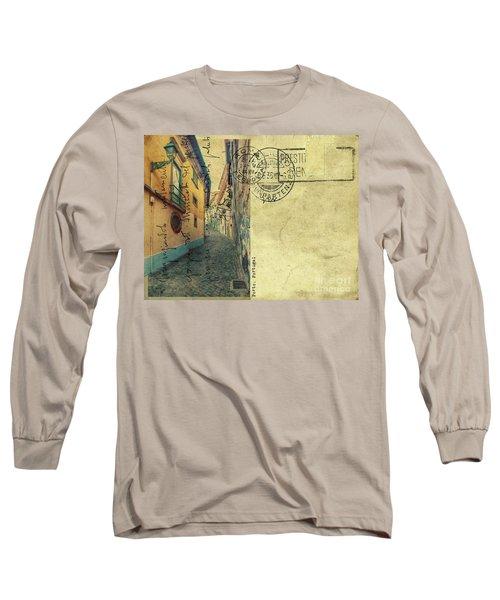 retro postcard of Porto, Portugal  Long Sleeve T-Shirt