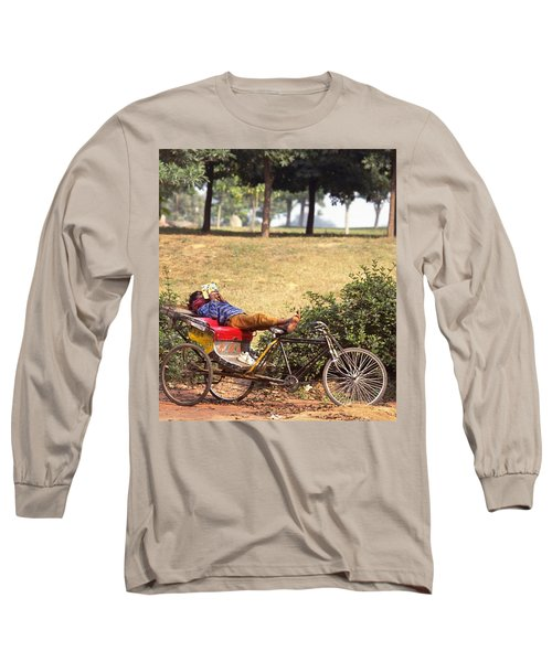 Long Sleeve T-Shirt featuring the photograph Rickshaw Rider Relaxing by Travel Pics