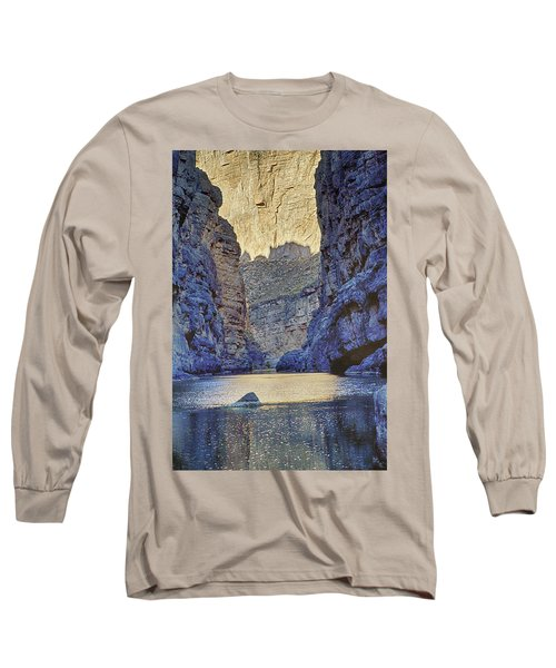 Long Sleeve T-Shirt featuring the tapestry - textile Rio Grand, Santa Elena Canyon Texas 2 by Kathy Adams Clark