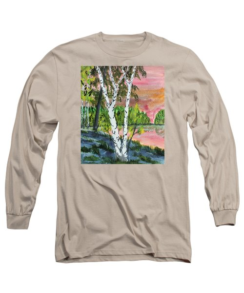 Long Sleeve T-Shirt featuring the painting River Birch by Jack G  Brauer