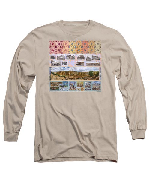 Long Sleeve T-Shirt featuring the painting River Mural Autumn Panel Top Half by Dawn Senior-Trask