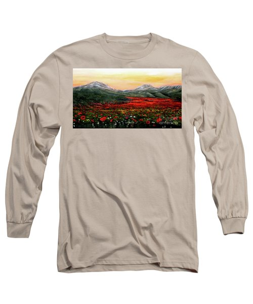 Long Sleeve T-Shirt featuring the painting River Of Poppies by Judy Kirouac