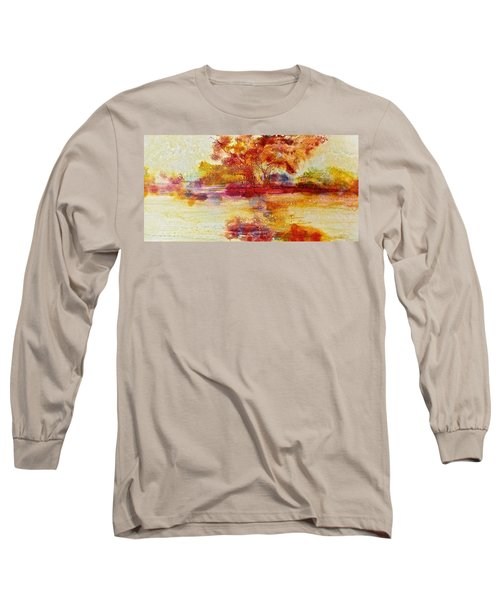Riverscape In Red Long Sleeve T-Shirt by Carolyn Rosenberger