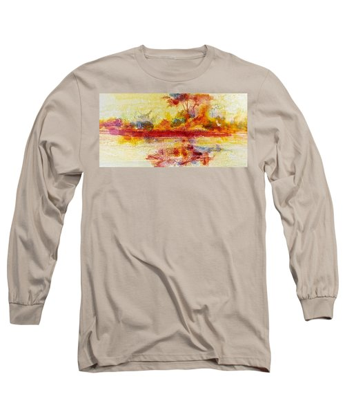 Long Sleeve T-Shirt featuring the painting Riverscape In Red....part 2 by Carolyn Rosenberger
