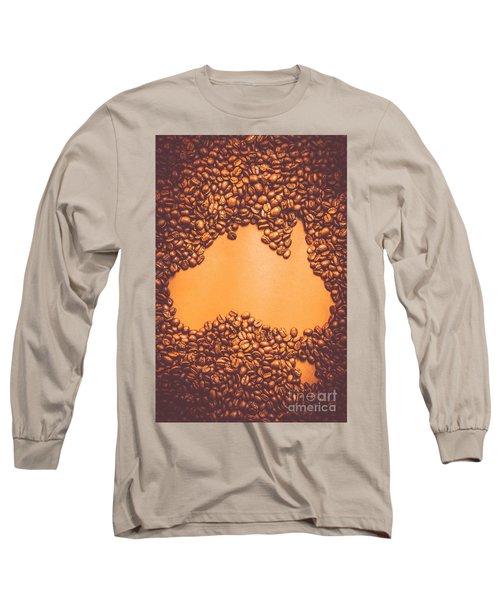 Roasted Australian Coffee Beans Background Long Sleeve T-Shirt
