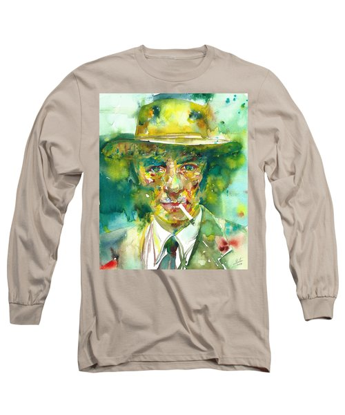 Long Sleeve T-Shirt featuring the painting Robert Oppenheimer - Watercolor Portrait.2 by Fabrizio Cassetta