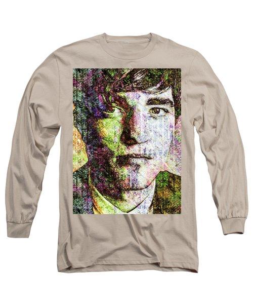 Long Sleeve T-Shirt featuring the mixed media Robert Pattinson by Svelby Art