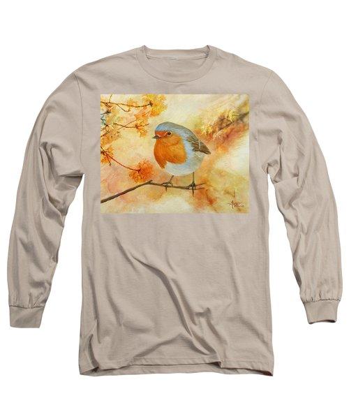 Robin Among Flowers Long Sleeve T-Shirt