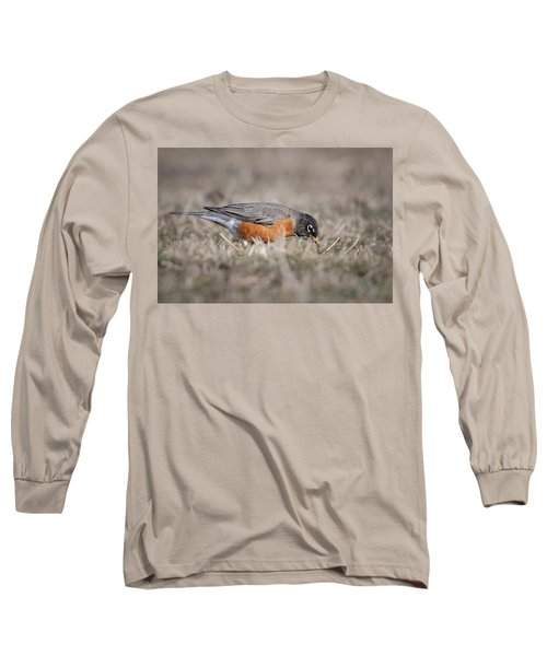Long Sleeve T-Shirt featuring the photograph Robin Pulling Worm by Tyson Smith