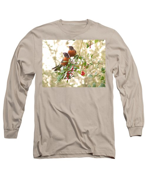 Robins In Holly Long Sleeve T-Shirt