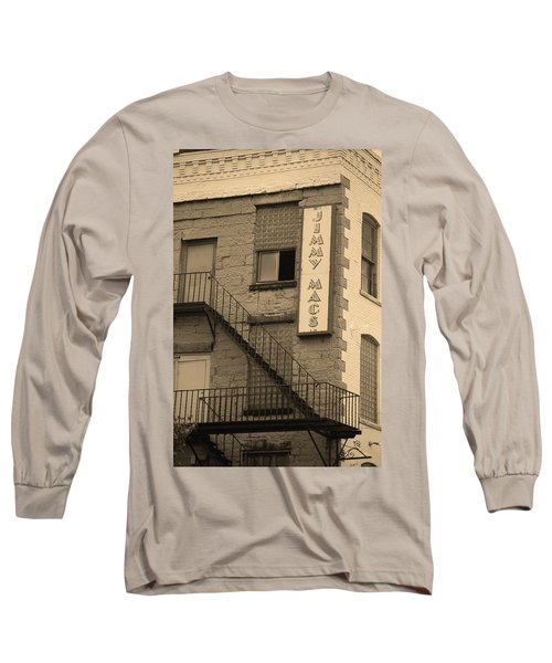 Long Sleeve T-Shirt featuring the photograph Rochester, New York - Jimmy Mac's Bar 2 Sepia by Frank Romeo