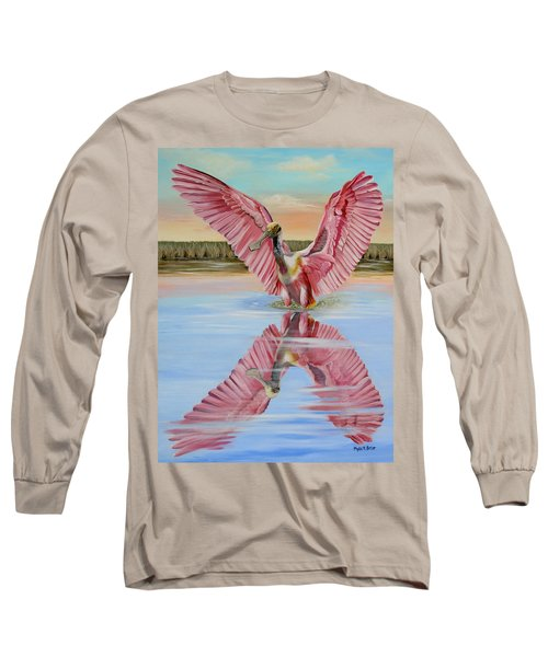 Rockport Roseate Spoonbill Long Sleeve T-Shirt by Phyllis Beiser