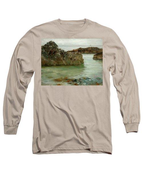 Long Sleeve T-Shirt featuring the painting Rocks At Newport by Henry Scott Tuke