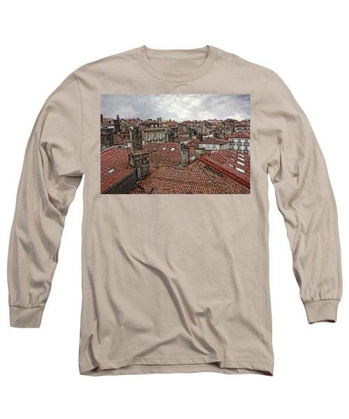 Roofs Over Santiago Long Sleeve T-Shirt by Angel Jesus De la Fuente