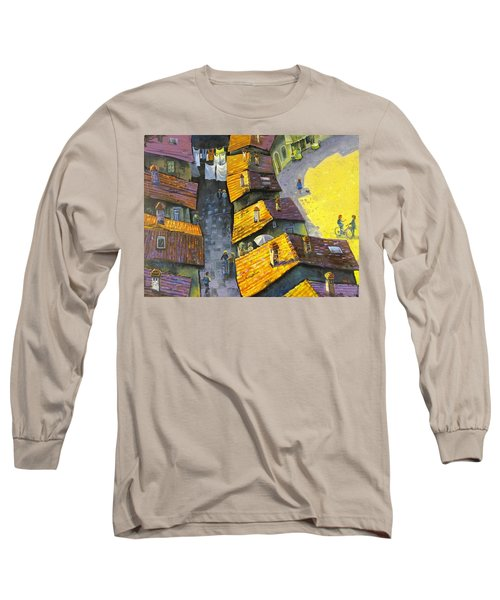 Long Sleeve T-Shirt featuring the painting Rooftops by Mikhail Zarovny