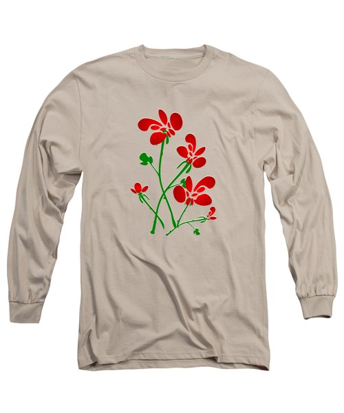 Rooster Flowers Long Sleeve T-Shirt by Anastasiya Malakhova