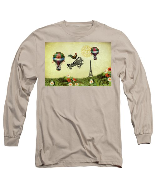 Rooster Flying High Long Sleeve T-Shirt by Peggy Collins